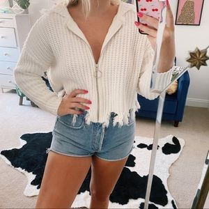 White cropped raw hem zip up hoodie distressed